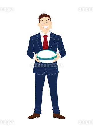 ラグビーボールを持つビジネスマンのイラスト素材 [FYI03420065]