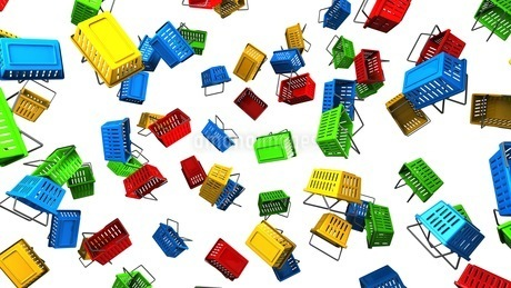 Shopping baskets on white backgroundの写真素材 [FYI03420095]