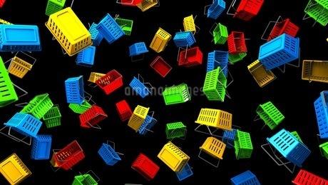 Shopping baskets on black backgroundのイラスト素材 [FYI03420096]
