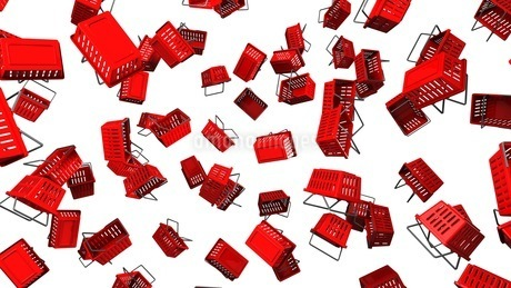 Red shopping baskets on white backgroundのイラスト素材 [FYI03420097]