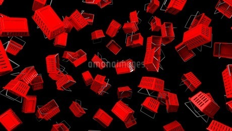 Red shopping baskets on black backgroundのイラスト素材 [FYI03420098]