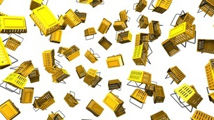Yellow shopping baskets on white backgroundのイラスト素材 [FYI03420100]