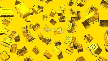 Yellow shopping baskets on yellow backgroundのイラスト素材 [FYI03420102]