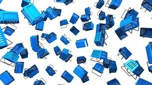 Blue shopping baskets on white backgroundのイラスト素材 [FYI03420103]