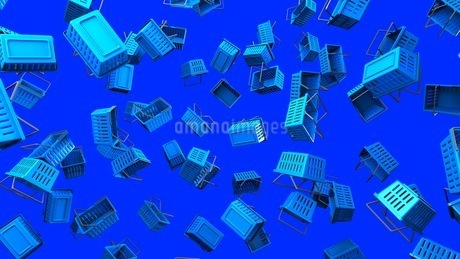 Blue shopping baskets on blue backgroundの写真素材 [FYI03420105]