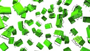 Green Shopping baskets on white backgroundのイラスト素材 [FYI03420106]