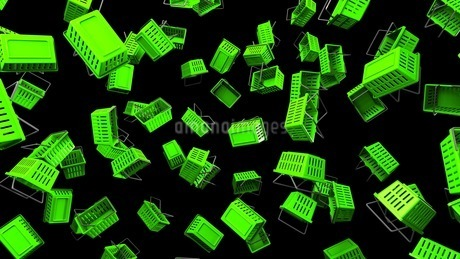 Green Shopping baskets on black backgroundのイラスト素材 [FYI03420107]