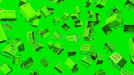 Green Shopping baskets on green backgroundのイラスト素材 [FYI03420108]