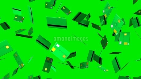 Green Credit cards on green backgroundのイラスト素材 [FYI03420180]