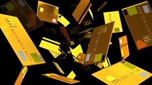 Gold Credit cards on black backgroundのイラスト素材 [FYI03420190]