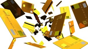 Gold Credit cards on white backgroundのイラスト素材 [FYI03420191]