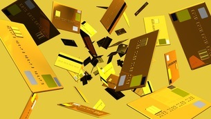 Gold Credit cards on beige backgroundのイラスト素材 [FYI03420192]
