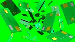 Green Credit cards on green backgroundのイラスト素材 [FYI03420200]