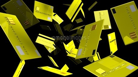 Yellow Credit cards on black backgroundのイラスト素材 [FYI03420201]