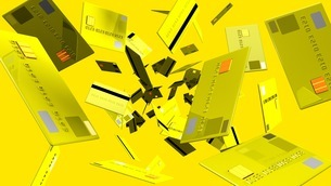 Yellow Credit cards on yellow backgroundのイラスト素材 [FYI03420203]