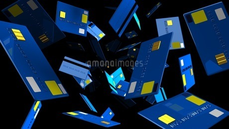 Blue Credit cards on black backgroundのイラスト素材 [FYI03420204]
