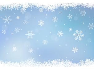 積もった雪の結晶 背景フレームのイラスト素材 [FYI03420307]