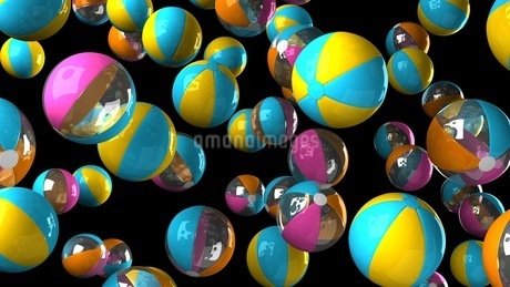 Colorful beach balls on black backgroundのイラスト素材 [FYI03420323]
