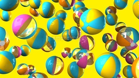Colorful beach balls on yellow backgroundのイラスト素材 [FYI03420324]