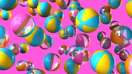 Colorful beach balls on pink backgroundのイラスト素材 [FYI03420326]