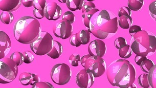 Colorful beach balls on pink backgroundのイラスト素材 [FYI03420329]