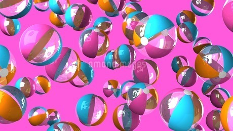 Colorful beach balls on pink backgroundのイラスト素材 [FYI03420332]