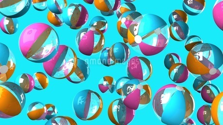 Colorful beach balls on blue backgroundのイラスト素材 [FYI03420333]
