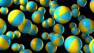 Colorful beach balls on black backgroundのイラスト素材 [FYI03420335]