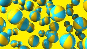 Colorful beach balls on yellow backgroundのイラスト素材 [FYI03420336]