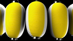 Yellow and white paper lanterns on black backgroundのイラスト素材 [FYI03420338]