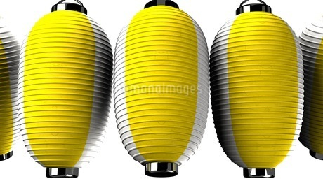Yellow and white paper lanterns on white backgroundのイラスト素材 [FYI03420339]