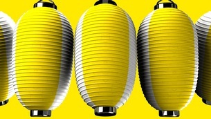 Yellow and white paper lanterns on yellow backgroundのイラスト素材 [FYI03420340]