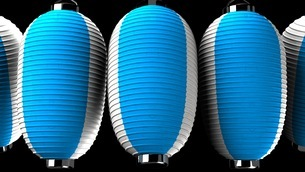 Blue and white paper lanterns on black backgroundのイラスト素材 [FYI03420341]