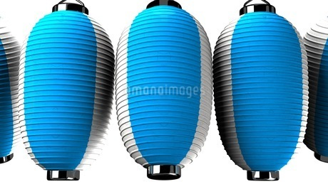 Blue and white paper lanterns on white backgroundのイラスト素材 [FYI03420342]