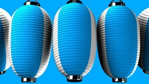 Blue and white paper lanterns on blue backgroundのイラスト素材 [FYI03420343]