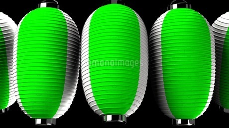 Green and white paper lanterns on black backgroundのイラスト素材 [FYI03420347]