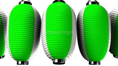 Green and white paper lanterns on white backgroundのイラスト素材 [FYI03420348]