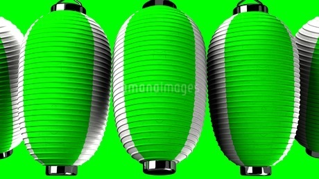 Green and white paper lanterns on green backgroundのイラスト素材 [FYI03420349]