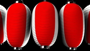 Red and white paper lanterns on black backgroundのイラスト素材 [FYI03420350]
