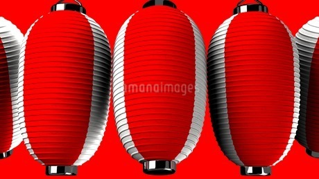 Red and white paper lanterns on red backgroundのイラスト素材 [FYI03420352]