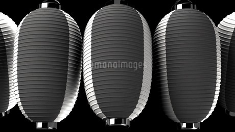 Black and white paper lanterns on black backgroundのイラスト素材 [FYI03420353]