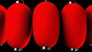 Red paper lanterns on black backgroundのイラスト素材 [FYI03420355]