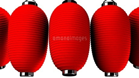 Red paper lanterns on white backgroundのイラスト素材 [FYI03420356]