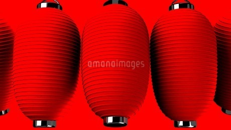 Red paper lanterns on red backgroundのイラスト素材 [FYI03420357]