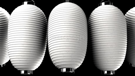 White and white paper lanterns on black backgroundのイラスト素材 [FYI03420358]