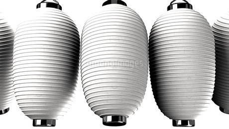 White and white paper lanterns on white backgroundのイラスト素材 [FYI03420359]