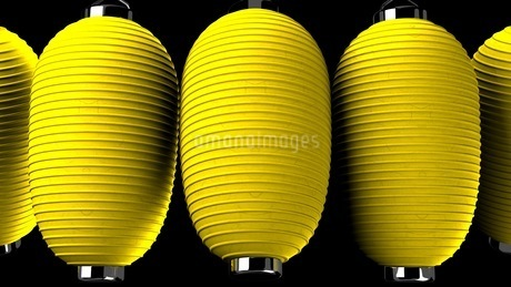 Yellow paper lanterns on black backgroundのイラスト素材 [FYI03420362]