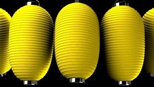 Yellow paper lanterns on black backgroundのイラスト素材 [FYI03420362]