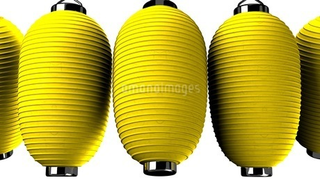 Yellow paper lanterns on red backgroundのイラスト素材 [FYI03420363]