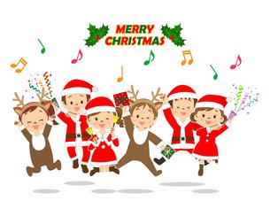 クリスマス ジャンプする子供たちのイラスト素材 [FYI03420895]